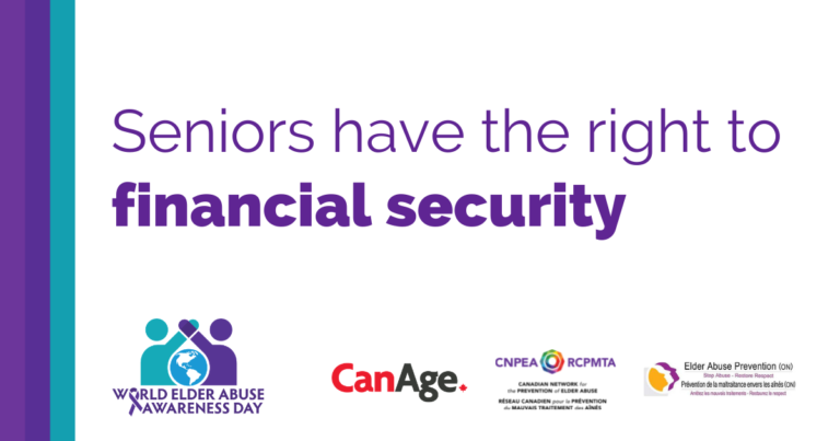Seniors have the right to financial security